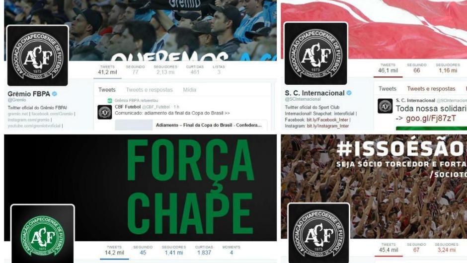 Clubes brasileiros prestam homenagem ao Chapecoense no Twitter.