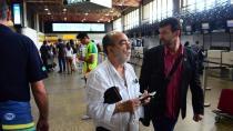 Delfim Pádua Peixoto Filho e o Jandir Bordigon, diretor da Chapecoense, no embarque